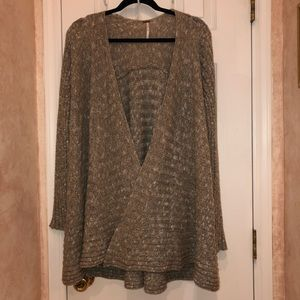 Free People Beige Cardigan Sweater